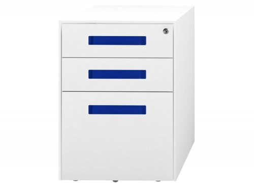 SPECTRUM Steel Mobile Pedestal 2 Personal drawers 1 File drawer 500 x 300 x 495 mm White blue SMS4521-SHSTC3-Blue
