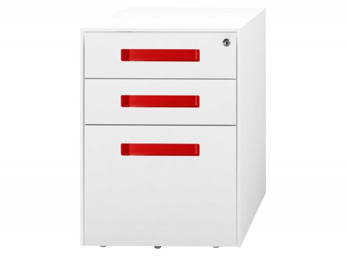 SPECTRUM Steel Mobile Pedestal 2 Personal drawers 1 File drawer 500 x 300 x 495 mm White red SMS4521-SHSTC3-Red