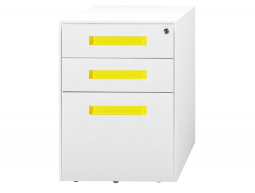 SPECTRUM Steel Mobile Pedestal 2 Personal drawers 1 File drawer 500 x 300 x 495 mm White yellow SMS4521-SHSTC3-Yellow