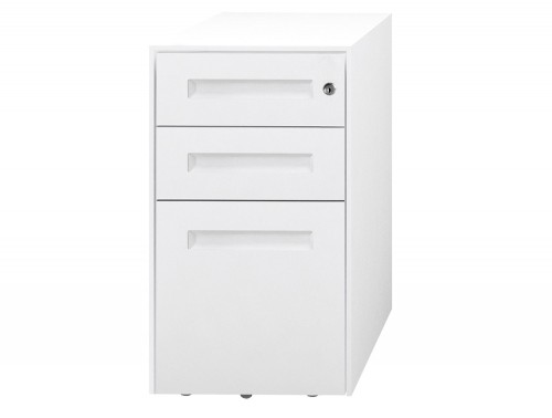 SPECTRUM Steel Narrow Mobile Pedestal 2 Personal drawers 1 File drawer 500 x 300 x 597 mm White white SMS3521-White