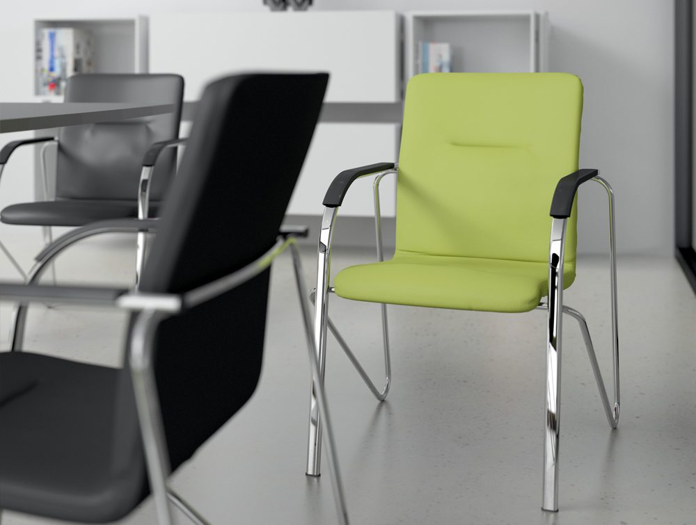 Sandy Boadroom Cantilever Stacking Chair Swizzle Green