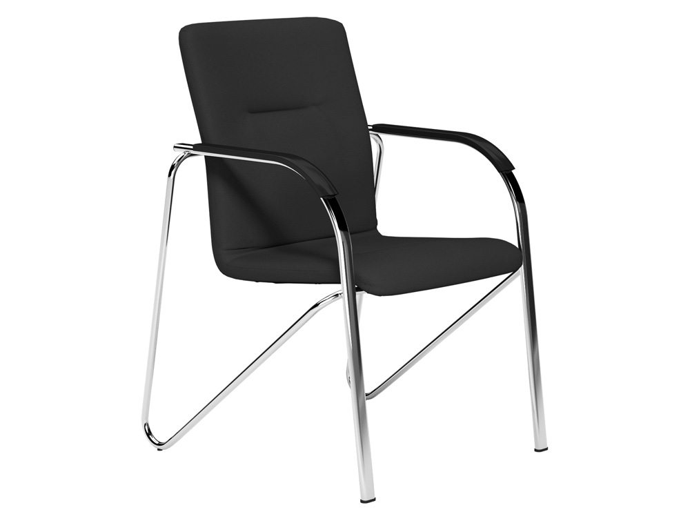 Sandy Boardroom Stacking Chair Chrome Frame Black Arms In E001