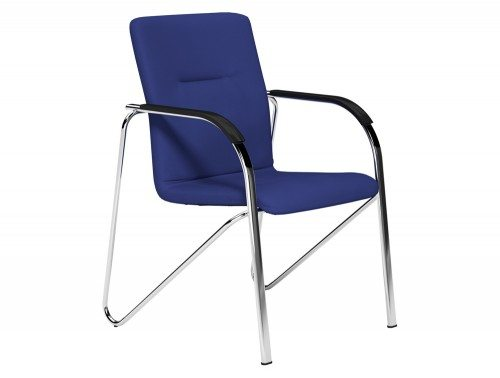 Sandy  Boardroom Stacking Chair Chrome Frame Black Arms in E031 Navy