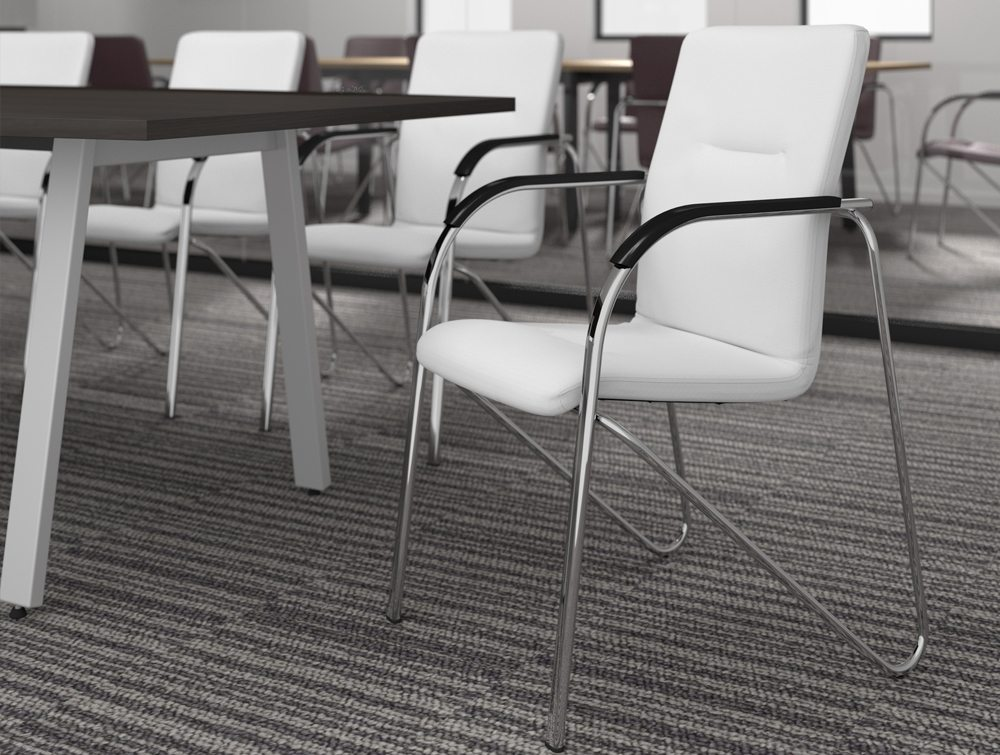 Sandy Office Meeting Cantilever Stacking Chair White