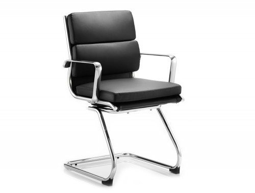 Savoy Visitor Cantilever Chair Black Bonded Leather With Arms Featured Image