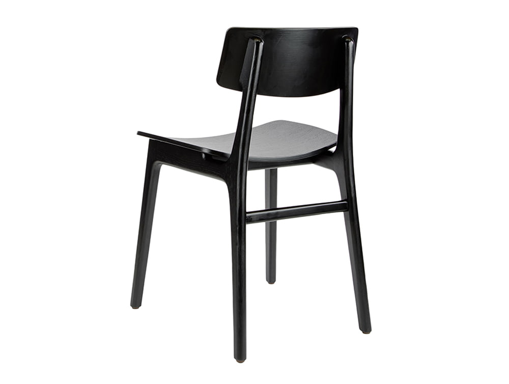 Scandi Wooden 4 Legged Meeting Room and Canteen Chair Back in Black Finish