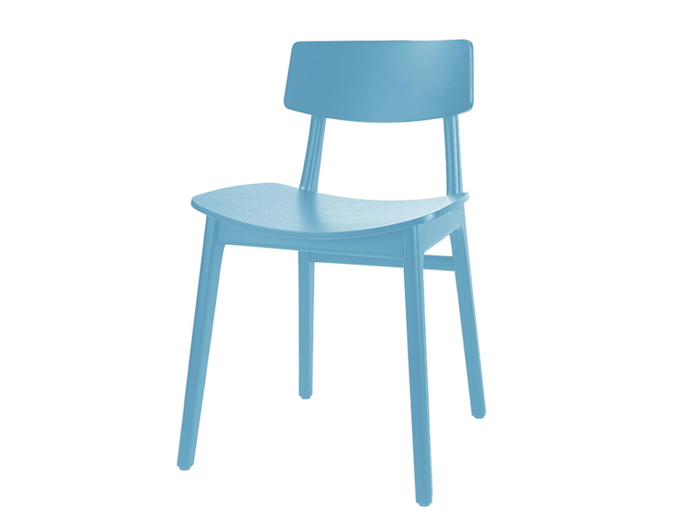 Scandi Wooden 4 Legged Meeting Room and Canteen Chair Blue Turquoise