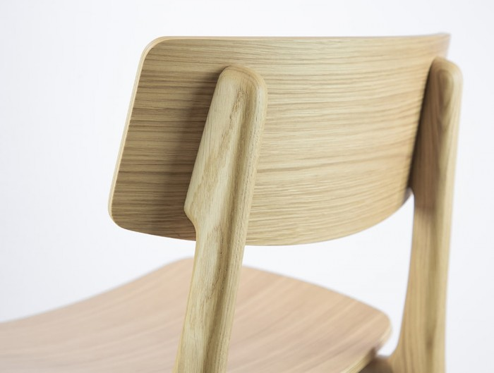 Scandi Wooden 4-Legged Meeting Room and Canteen Chair in Natural Oak Finish Slim Back