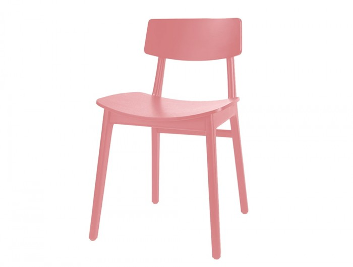 Scandi Wooden 4 Legged Meeting Room and Canteen Chair in Pink