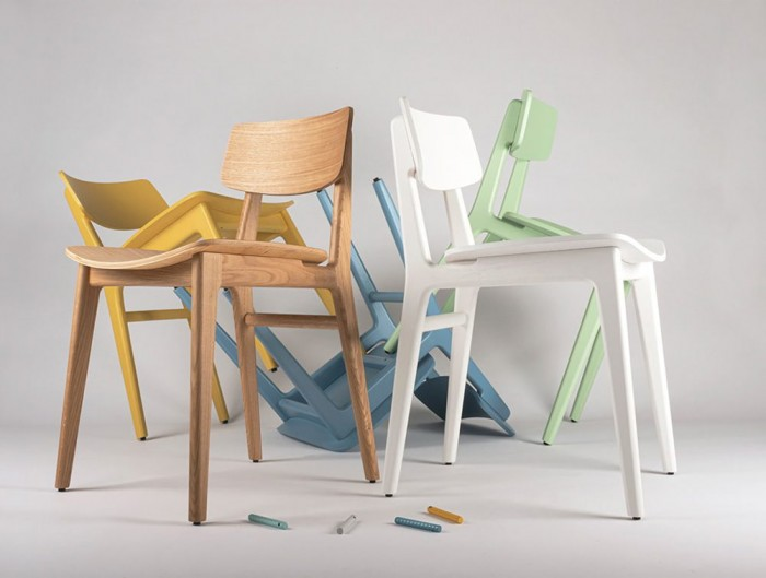 Scandi Wooden 4 Legged Meeting Room and Canteen Chair in Yellow White Blue Green and Natural Oak