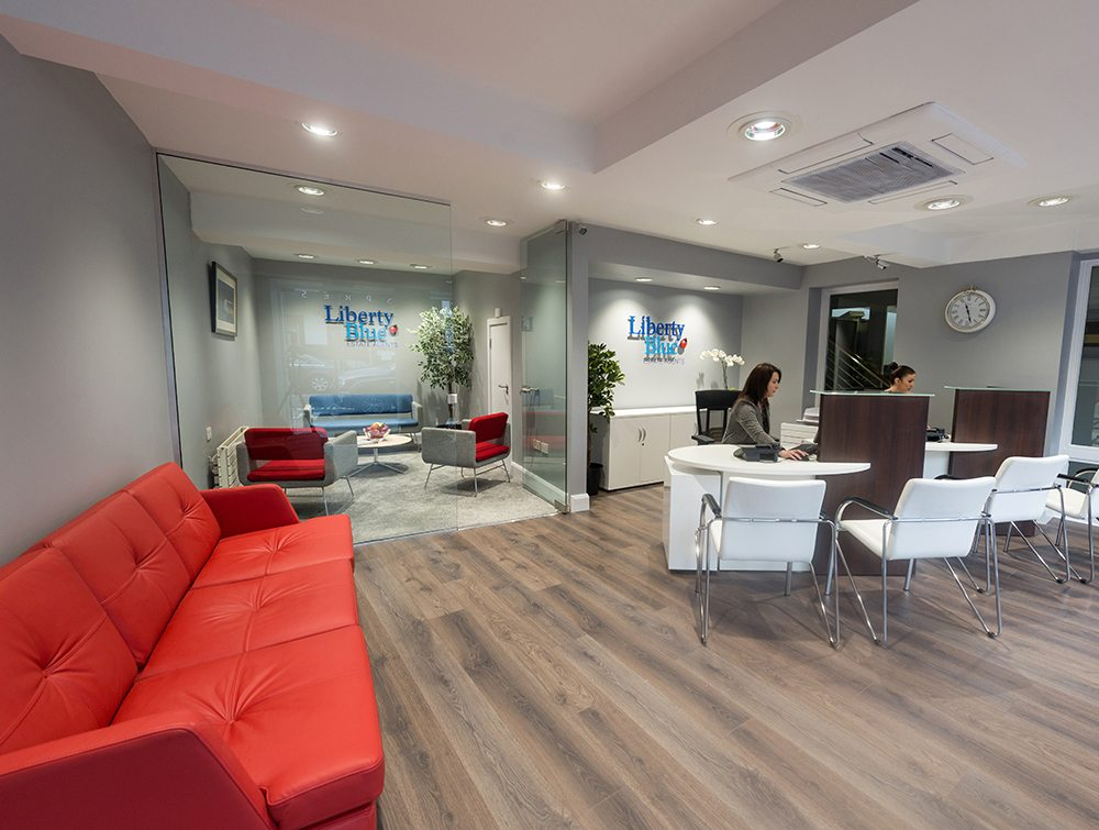 wide photo of reception desk area liberty blue