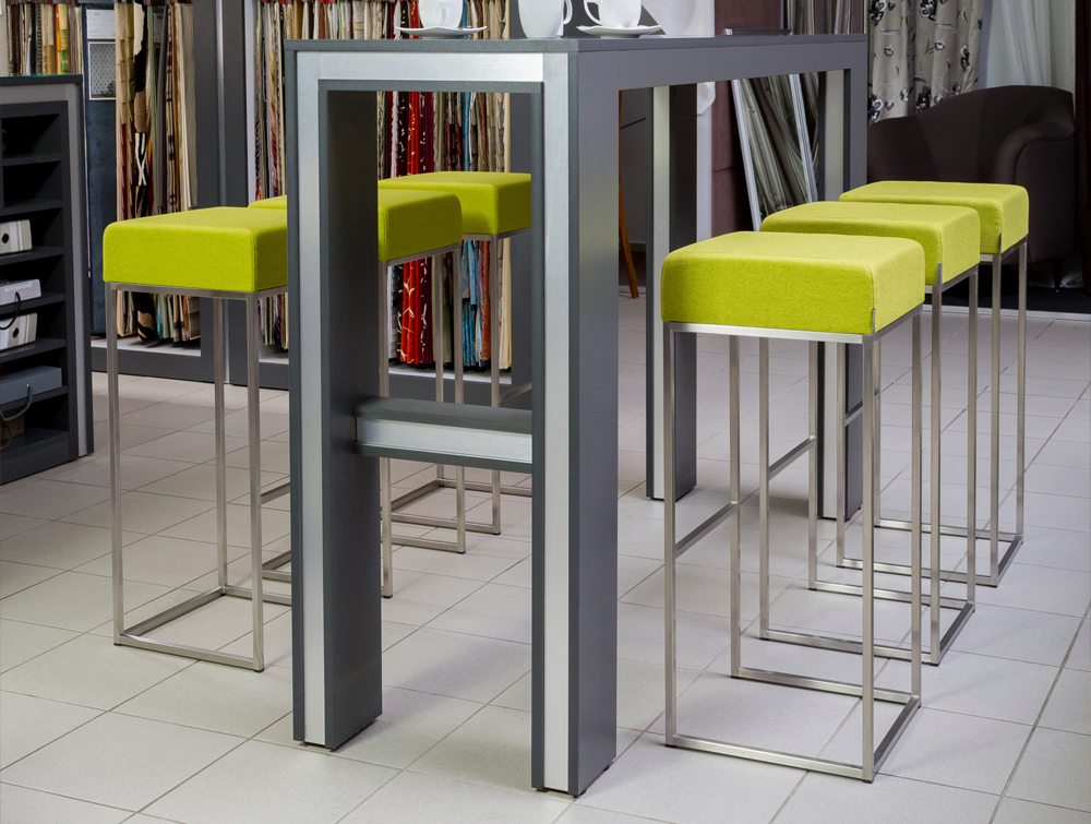 Sim Canteen Seating High Bar Stool in Lush Green with Table