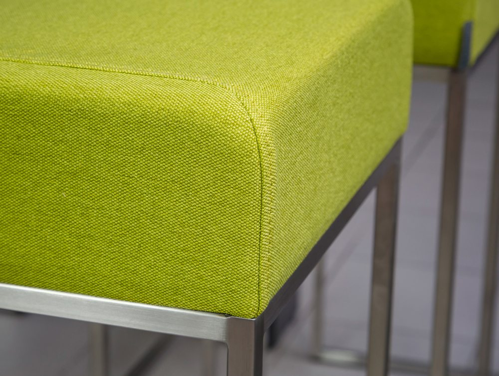 Sim Upholstered High Bar Stool Green Fabric