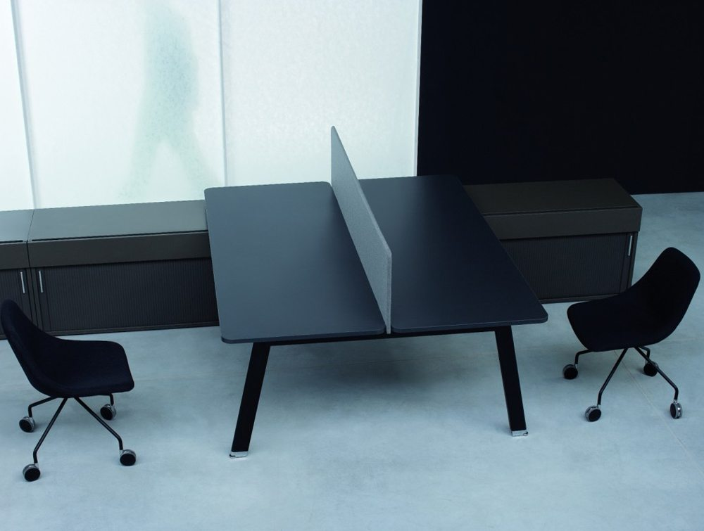 Simplic Executive Desk with Credenza Unit and Chairs in Black