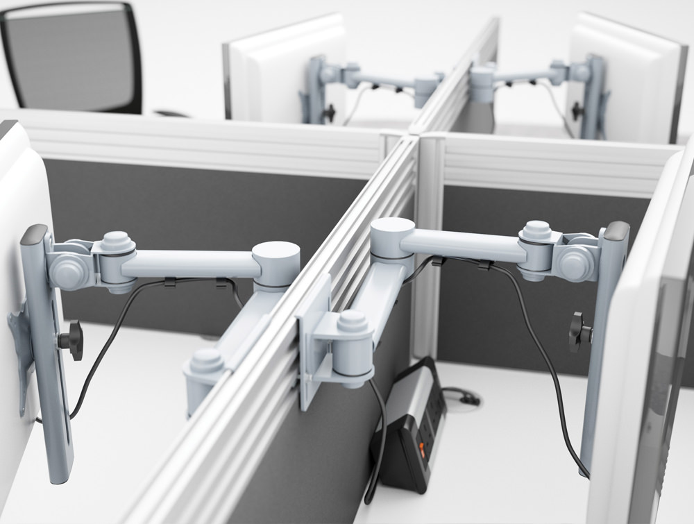 Single Monitor Desk Arms in White