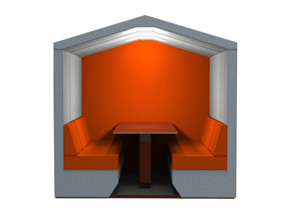 Bea Roofed 6 seat meeting pod in tangy orange with overhead led lights