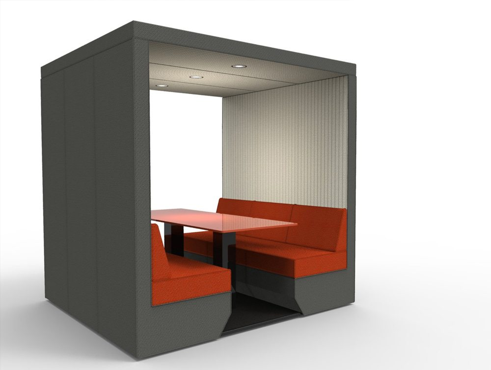 Bea 6 seater meeting den without wall in orange with overhead led lights