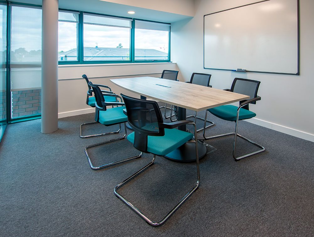 six blue chairs in meeting office room