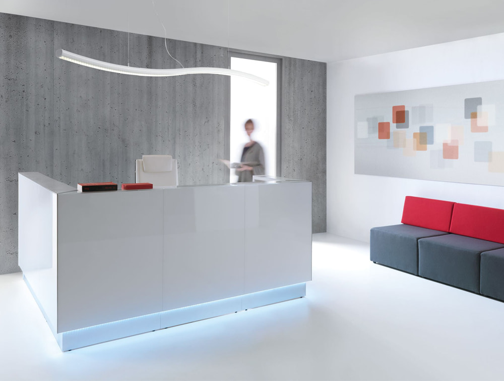 Snake Overhead Office Reception Ceiling Lighting White Furniture with Modular Seating