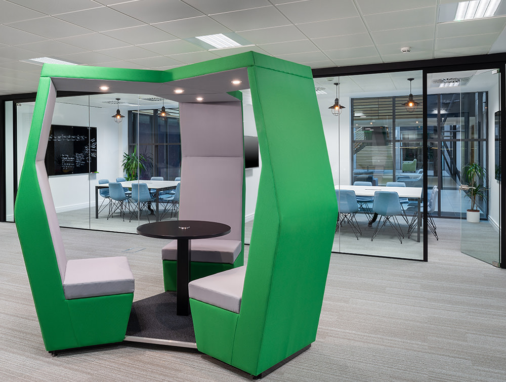 Social Talent Office Breakout Area Layout JDD Bill Green 3 Seater Meeting Pod with Coffee Table and Overhead LED Lights