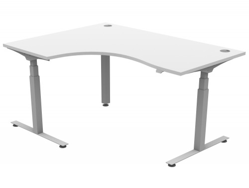 Solo Electric Radial Desk Left Hand Portals 1600x1200mm White Silver FCL650-TP1612L_WH_SLV