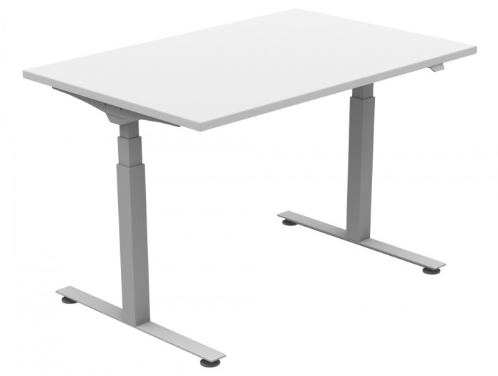 Ergomaster Solo Electric Straight Sit-stand Desk in White and Silver 1200mm x 800mm