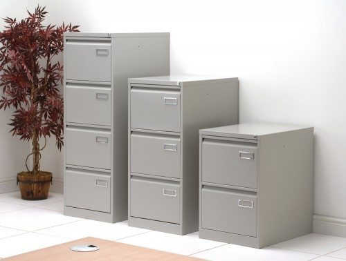 Sonix Superior Filing Cabinet 2-Drawer 40kg Capacity in Grey Side Angle