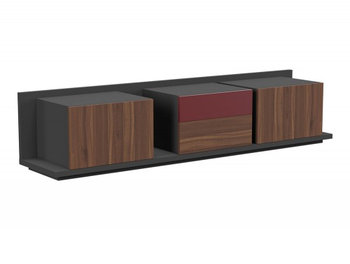 Soreno Executive Closed Storage Set of 3 Chests in American Walnut and Wine Red Finishes