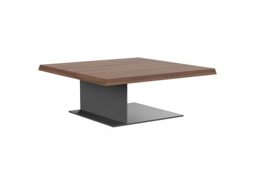 Soreno Executive Low Coffee Table with Square Metal Base in American Walnut Finish