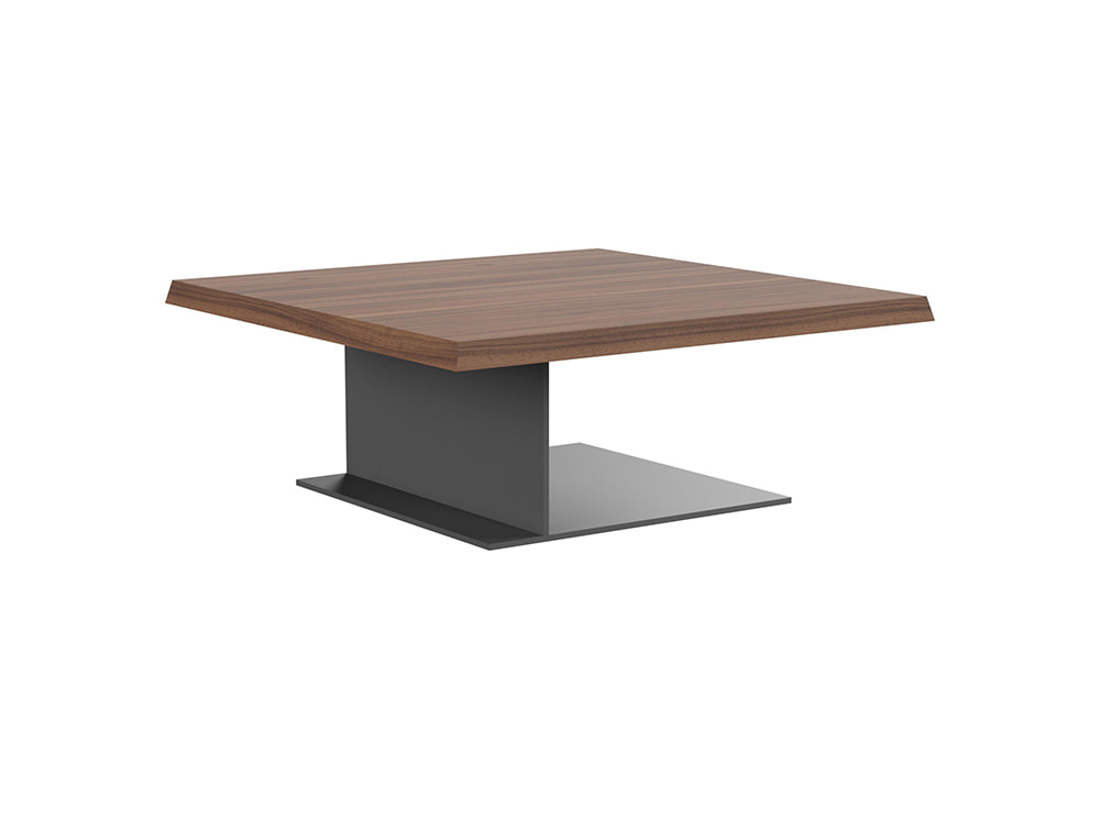 Soreno Executive Low Coffee Table with Square Metal Base - Walnut