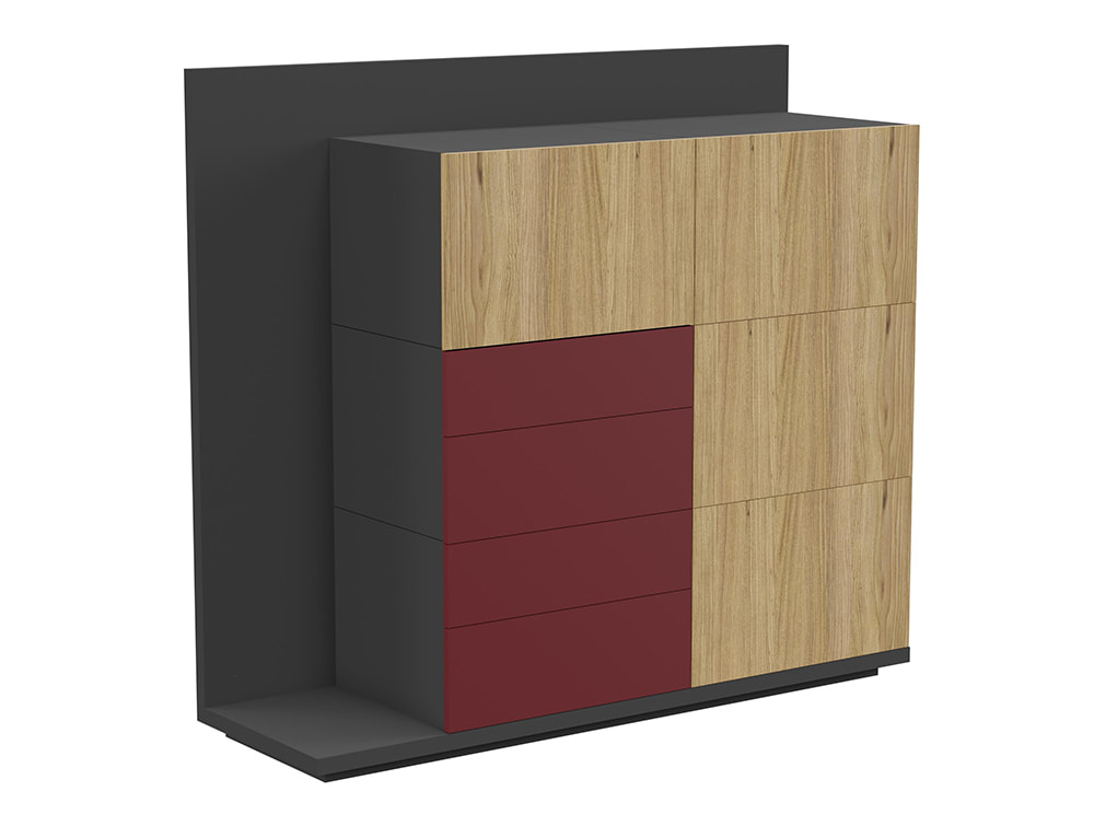 Soreno Executive Storage System with Multiple Drawers - Natural Oak