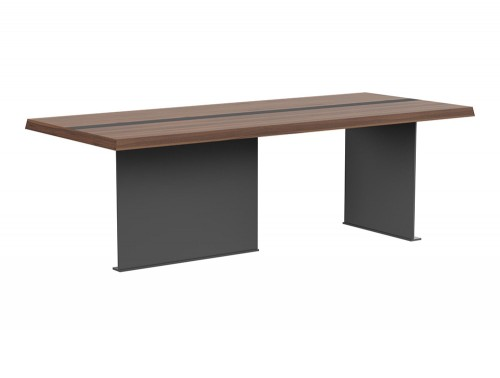 Soreno Executive Rectangular Meeting Room Table with Stylish Metal Base in American Walnut Finish