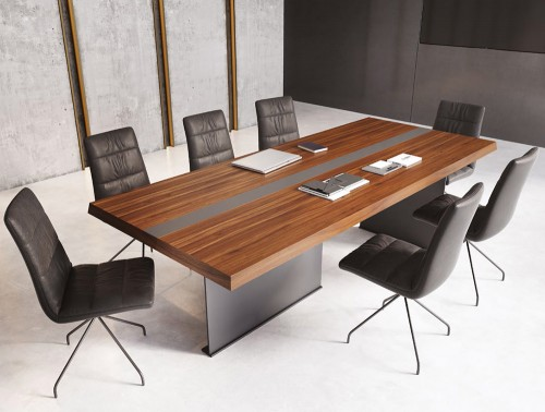 Soreno Executive Rectangular Meeting Room Table with Stylish Metal Base in American Walnut Finish with Chairs