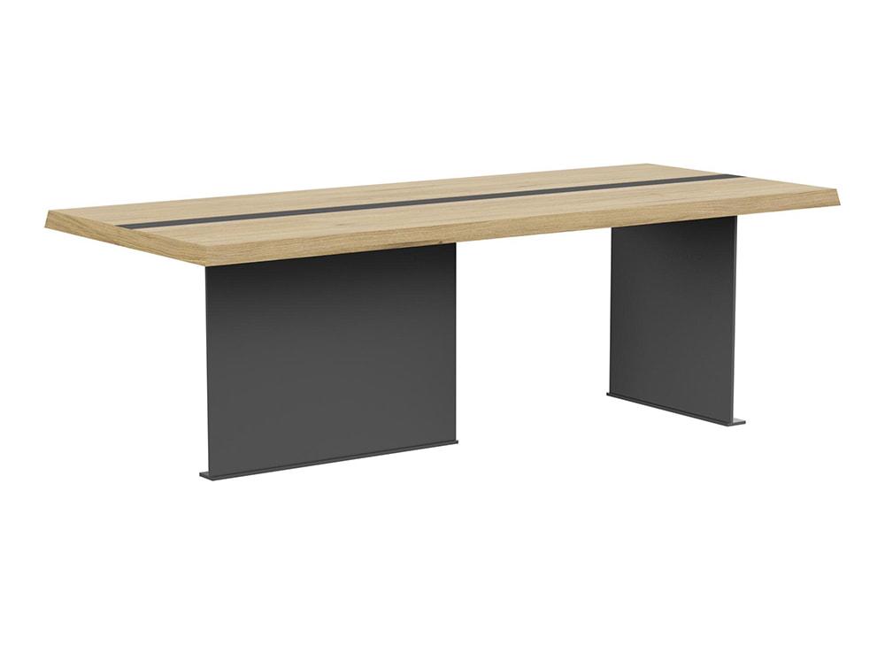 Soreno Executive Rectangular Meeting Room Table with Stylish Metal Base - Oak
