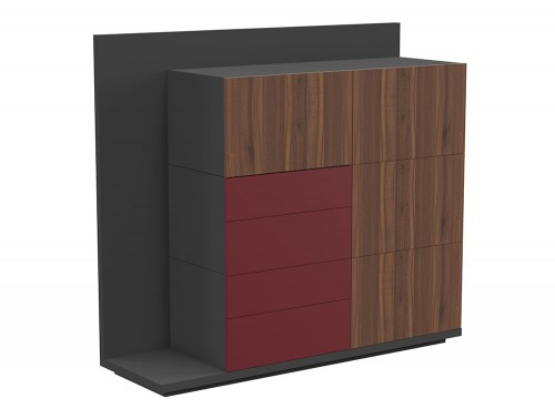 Soreno Executive Storage System with Multiple Drawers in American Walnut and Wine Red Finishes