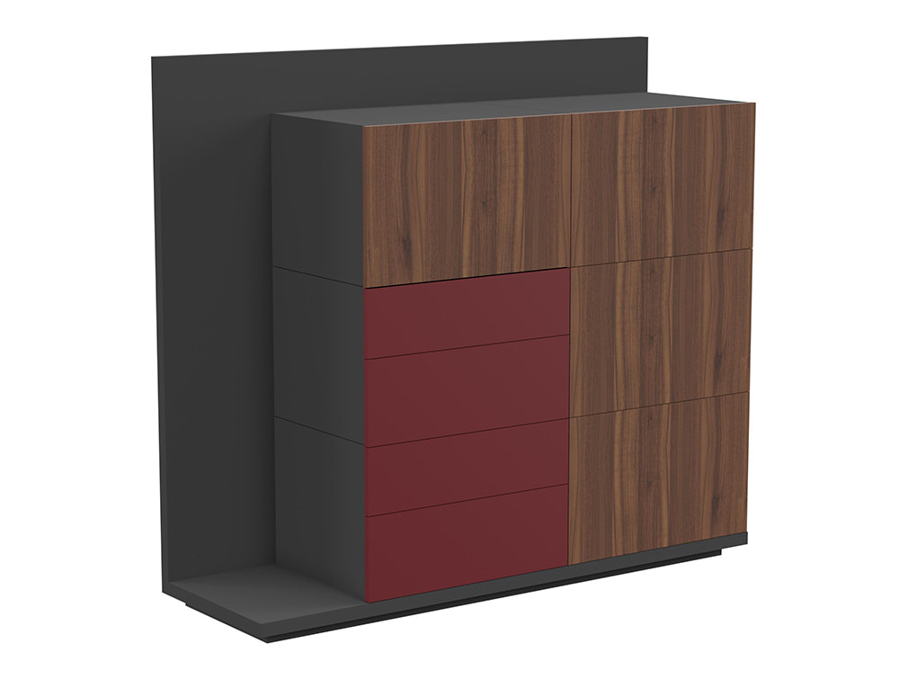 Soreno Executive Storage System with Multiple Drawers - American Walnut