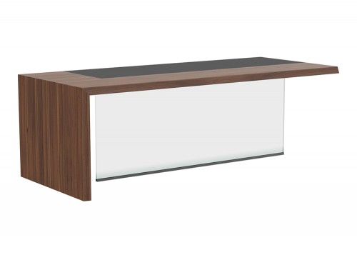 Soreno Executive Straight Office Desk Left Hand and Glass Display in American Walnut Finish