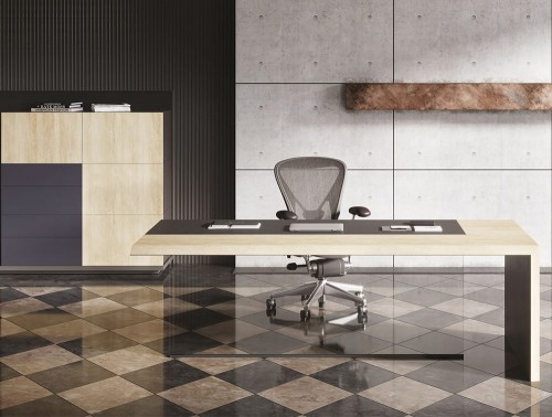 Soreno Executive Straight Office Desk and Storage System with Multiple Drawers in Natural Oak and Black Grey Finishes