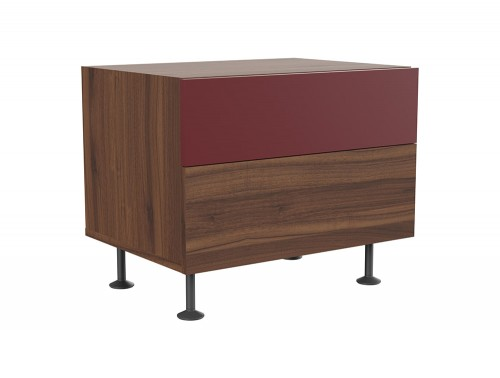 Soreno Executive Two Drawers Chest in American Walnut and Wine Red Finishes