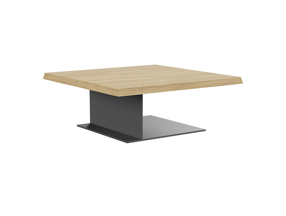 Soreno Executive Low Coffee Table with Square Metal Base - Oak