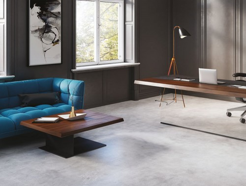 Soreno Low Coffee Table Metal Square Base in American Walnut Straight Office Executive Desk with Blue Sofa