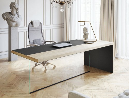 Soreno Straight Desk with Glass Display Natural Oak Tabletop in Executive Office with Ergonomic Chair