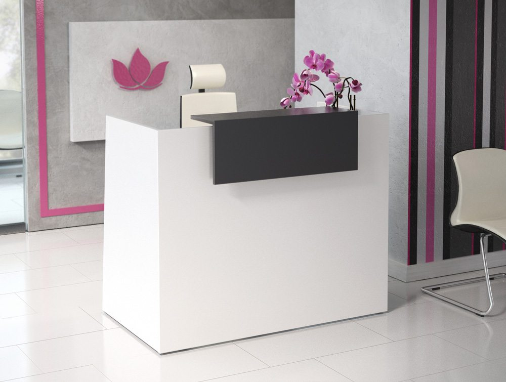 Sove High Reception With Cherry Front Desk Flowers In White