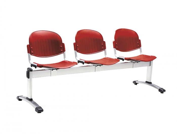 Star 3-Seater Beam Seating Chair Polypropylene in Red