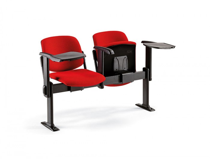 Star Modular Upholstered Beam Seating Chairs in Red with Armrests and Attached Table