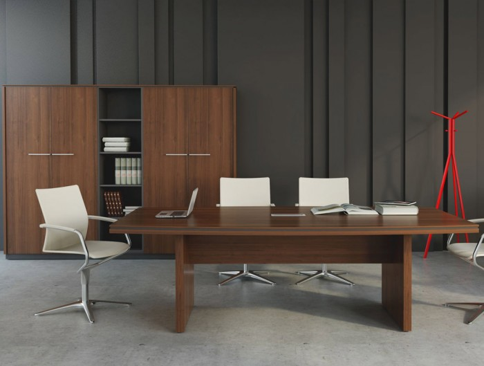 Status-Executive-Boardroom-Table-with-Storage-Cupboard-in-Lowland-Nut-Finish-and-White-Chairs