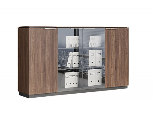 Status-Executive-Furniture-Range-2-Glass-Door-Closed-Storage-Medium-Cabinet-with-Side-Single-Storages-in-Lowland-Nut-Finish