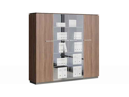 Status-Executive-Furniture-Range-2-Glass-Door-Closed-Tall-Storage-Medium-Cabinet-with-Side-Single-Storages-in-Lowland-Nut-Finish