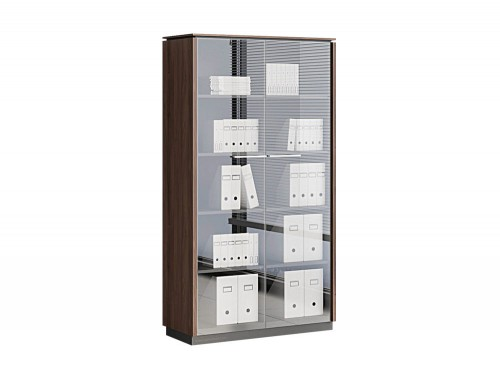 Status-Executive-Furniture-Range-2-Glass-Doors-Closed-Storage-High-Cabinet-in-Lowland-Nut-Finish