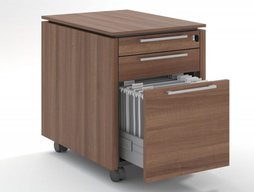 Status-Executive-Furniture-Range-3-Drawer-Mobile-Pedestral-Open-in-Lowland-Nut-Finish-